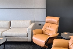 Meeting Room: Wall: Acoufelt Metal on the walls creating a timeless style and making a quite & smarter working space. Floors: Acoutfelt Carpet Plank Canyon Mojave